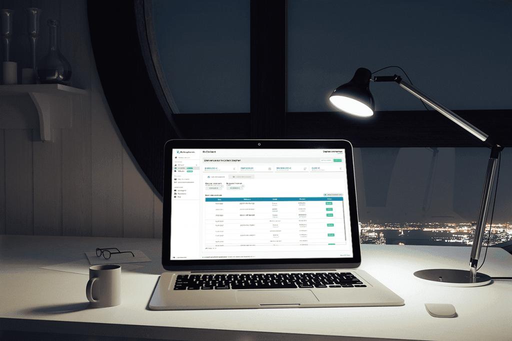 desktop avec tableau financier